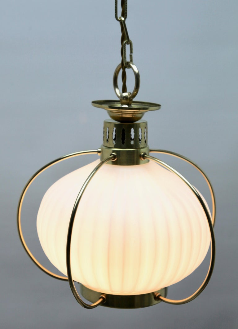 Hand-Crafted Midcentury Pendant Lobby Light Brass and Opaline Lampshade