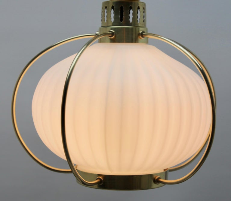 Midcentury Pendant Lobby Light Brass and Opaline Lampshade In Good Condition In Verviers, BE