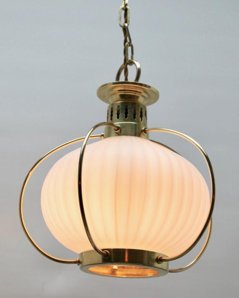 Mid-20th Century Midcentury Pendant Lobby Light Brass and Opaline Lampshade
