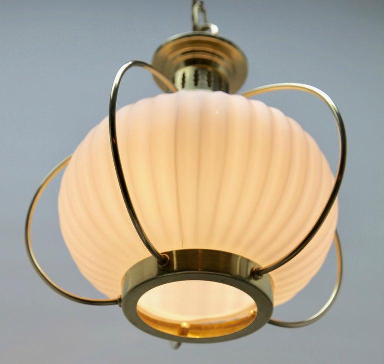 Midcentury Pendant Lobby Light Brass and Opaline Lampshade 1