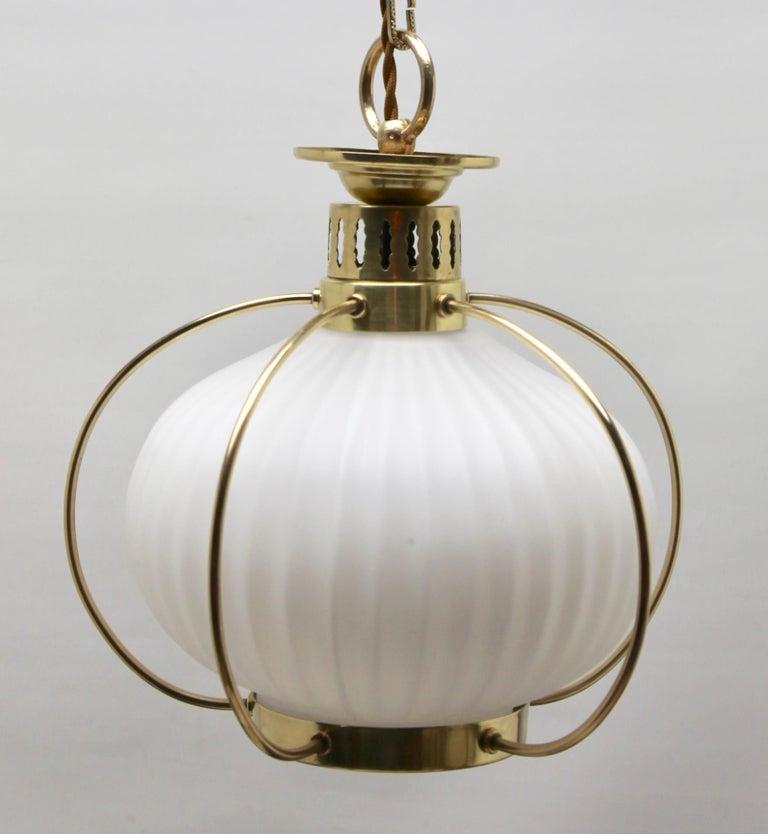 Midcentury Pendant Lobby Light Brass and Opaline Lampshade 2