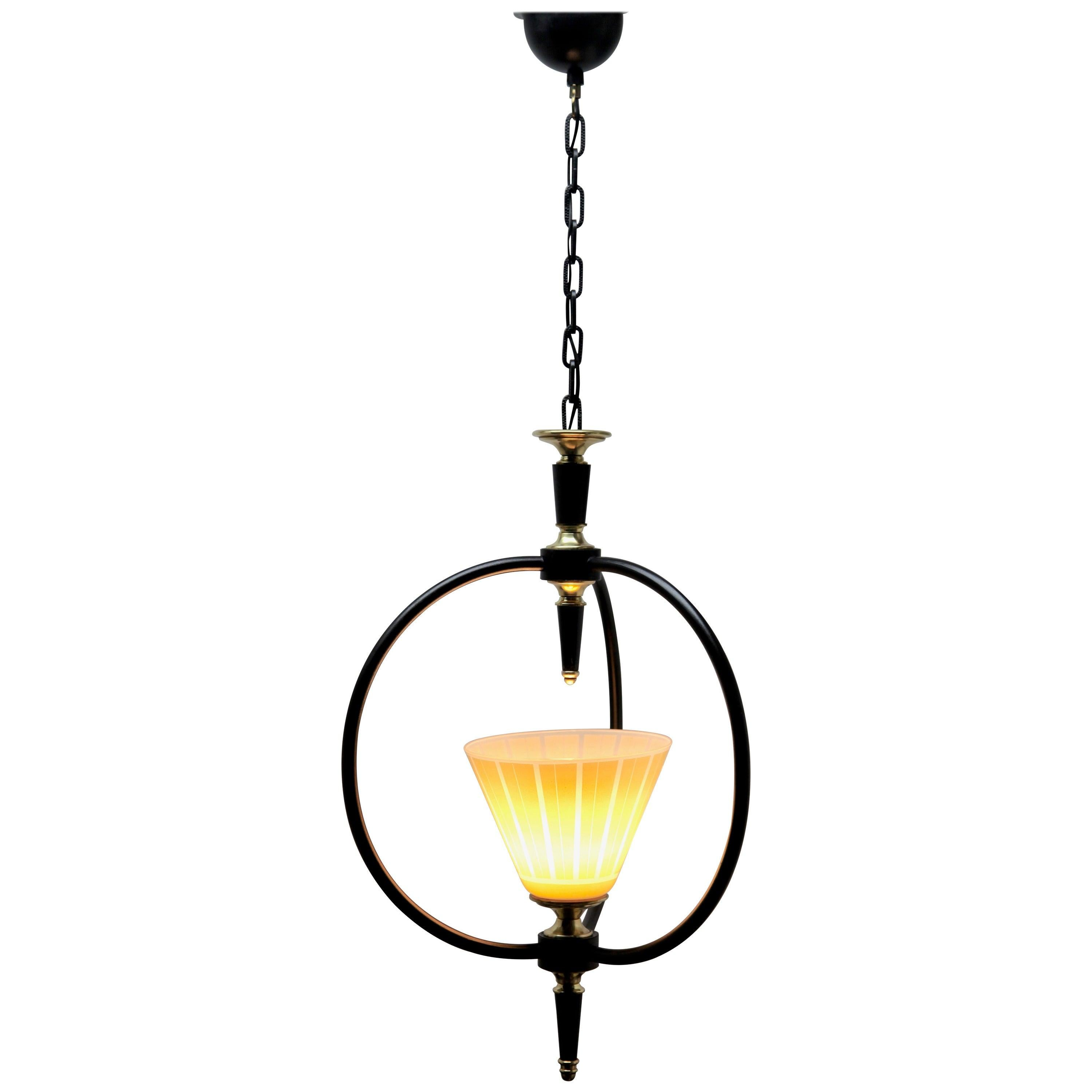 Midcentury Pendant Lobby Light Metal and Opaline Lampshade, 1950s
