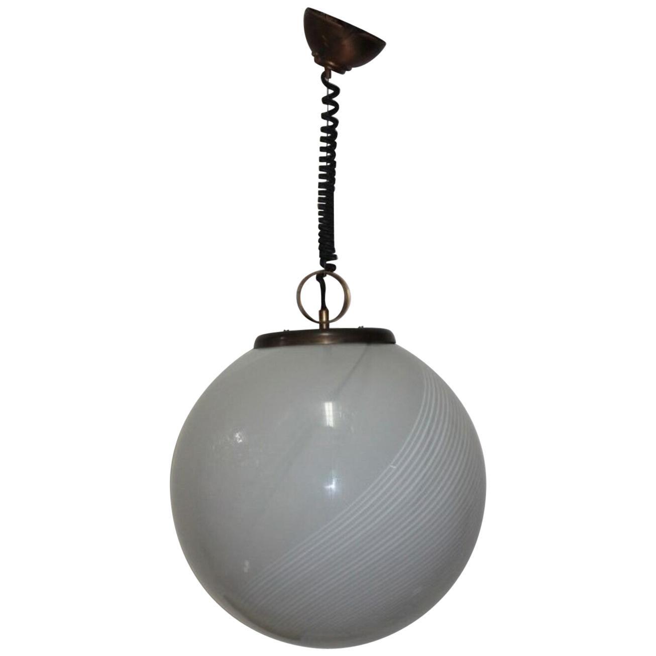 Midcentury Pendant Murano Glass Globe