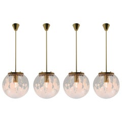 Midcentury Pendants in Brass and Art-Glass with White Streaks, Austria, 1960s