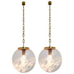 Midcentury Pendants in Brass and Art-Glass with White Streaks, European, 1970s