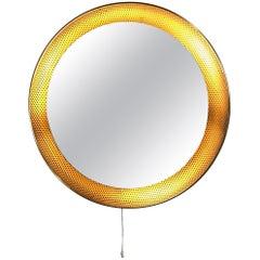 Midcentury Perforated Brass Illuminated Mirror by Mathieu Matégot for Artimeta