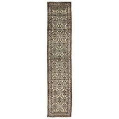 Midcentury Persian Hamedan Runner with Ornate All-Over Design in Brown and Nude