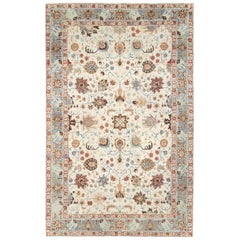 Midcentury Persian Handmade Accent Rug in Ivory, Blue Grey, and Crimson Red