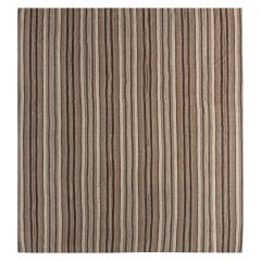 Midcentury Persian Kilim Rug in Beige and Brown Stripes