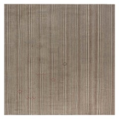 Midcentury Persian Kilim Rug in Shades of Beige, and Brown