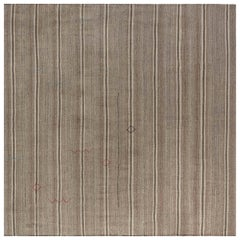 Midcentury Persian Kilim Rug in Shades of Beige, Brown and Gray