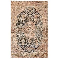 Midcentury Persian Kirman Chocolate Brown & Creamy Beige Handwoven Wool Rug