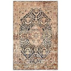 Midcentury Persian Kirman Handmade Wool Rug in Chocolate Brown and Creamy Beige