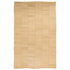 Midcentury Persian Mazandaran Hand Knotted Wool Kilim Rug in Sandy Beige Shade