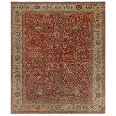 Midcentury Persian Serapi Deep Red, Brown, Blue and Beige Wool Rug