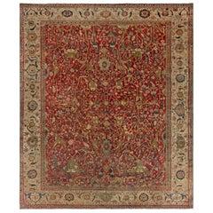 Midcentury Persian Serapi Wool Rug in Deep Red, Brown, Blue and Beige
