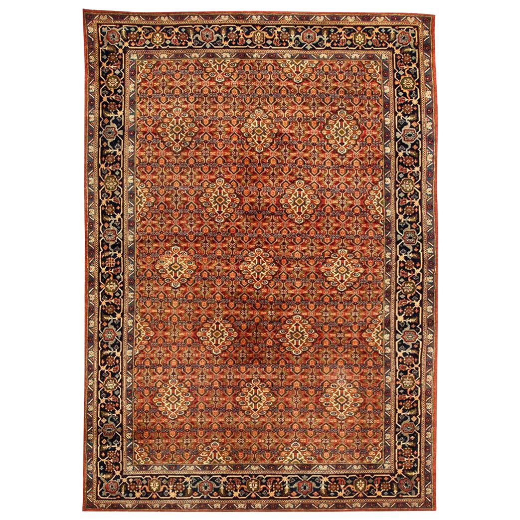 Midcentury Persian Sultanabad Wool Rug in Navy Blue, Greenish, Grey and Beige