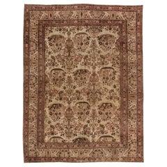 Midcentury Persian Tabriz Beige and Purple Handwoven Wool Rug