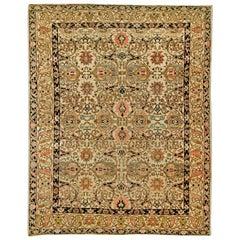 Midcentury Persian Tabriz Copper, Beige, Salmon and Inky Blue Handmade Wool Rug