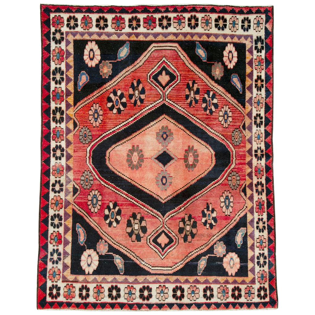 Midcentury Persian Tribal Rug in Black and Red