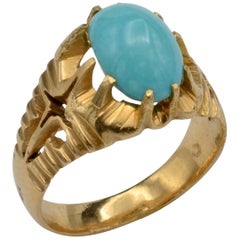 Midcentury Persian Turquoise and 18 Karat Gold Ring