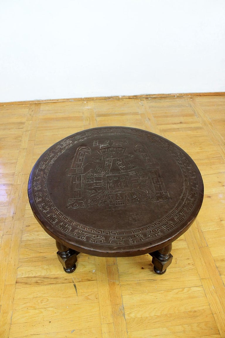 Mid-Century Modern Midcentury Peruvian Hand Tooled Leather Coffee Table