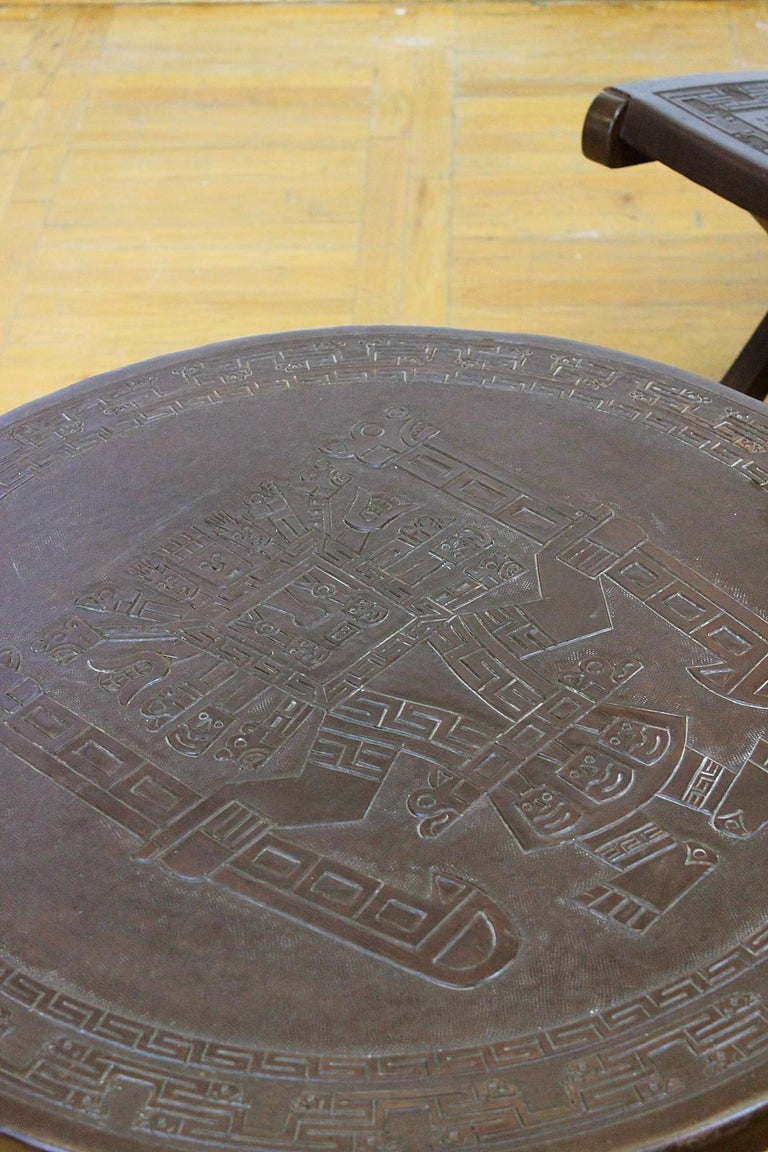Midcentury Peruvian Hand Tooled Leather Coffee Table In Good Condition In Debrecen-Pallag, HU