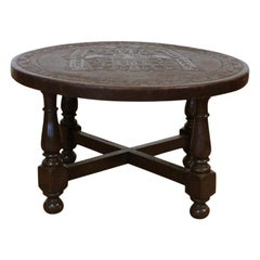 Midcentury Peruvian Hand Tooled Leather Coffee Table