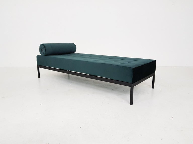 Midcentury velvet and metal daybed, the Netherlands, 1960s.