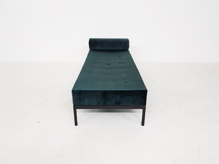 Mid-Century Modern Midcentury Petrol Velvet and Metal Daybed, the Netherlands, 1960s For Sale