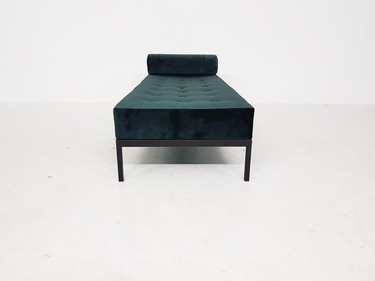 Dutch Midcentury Petrol Velvet and Metal Daybed, the Netherlands, 1960s For Sale