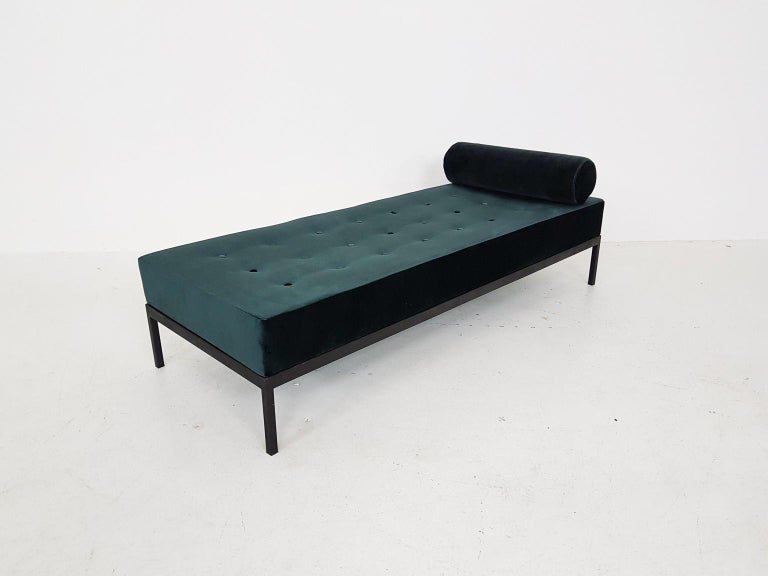 20th Century Midcentury Petrol Velvet and Metal Daybed, the Netherlands, 1960s For Sale