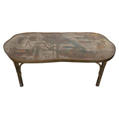 "Midcentury Philip and Kelvin LaVerne ""Chan 140"" Pewter and Bronze Coffee Table"