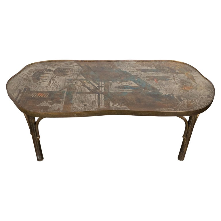 Philip and Kelvin LaVerne Chan 140 pewter and bronze coffee table, ca. 1960, offered by High Style Deco