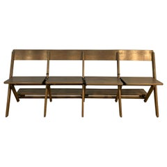 Midcentury Pickled Maple Folding Auditorium Theater Bench