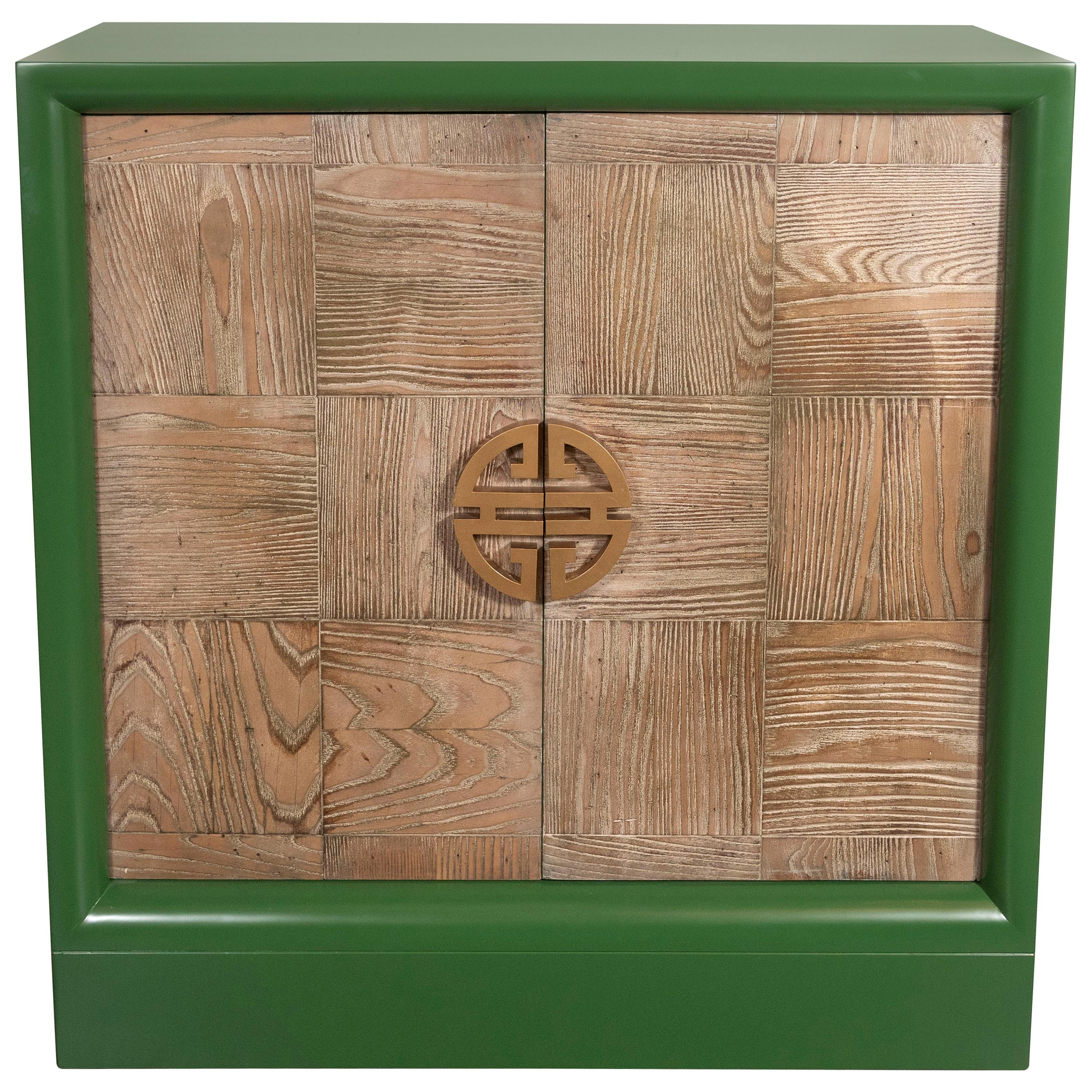 Midcentury Pickled Oak and Kelly Green Lacquer Bar Cabinet Signed James Mont