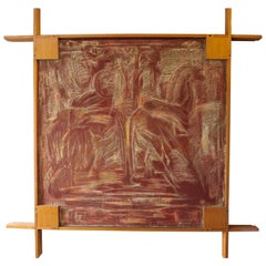 Midcentury Picture Frame by Ico Parisi with Abstract Painting, 1960s
