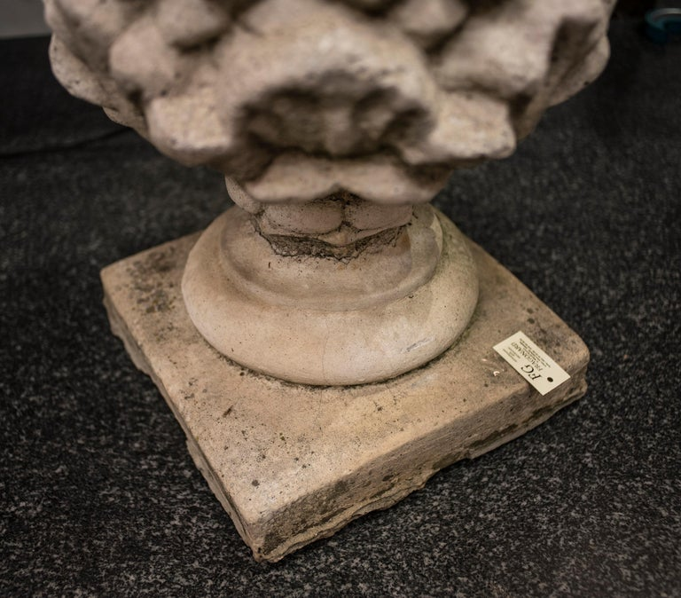 Hand-Crafted Midcentury Pineaple Stone Italian Sculpture, 1970 For Sale