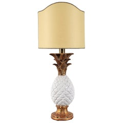 Midcentury Pineapple Shape White Porcelain Table Lamp by Zaccagnini, Italy 1960s