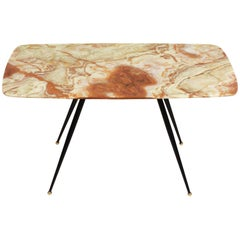 Midcentury Pink and Green Onyx Marble Italian Coffee Table with Brass Feet 1950s