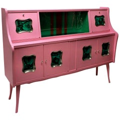 Midcentury Pink Lacquered Bar Cabinet