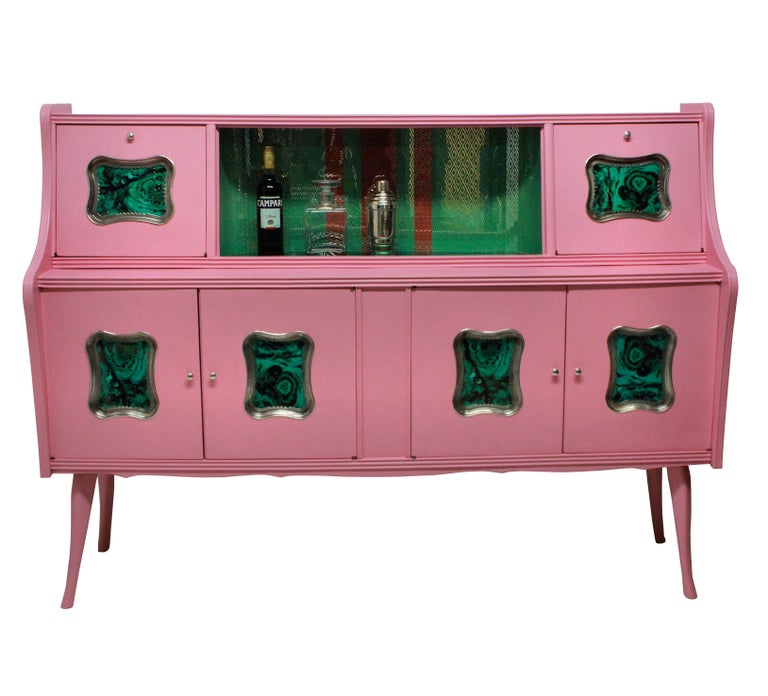 Mid-Century Modern Midcentury Pink Lacquered Bar Cabinet with Malachite Panels