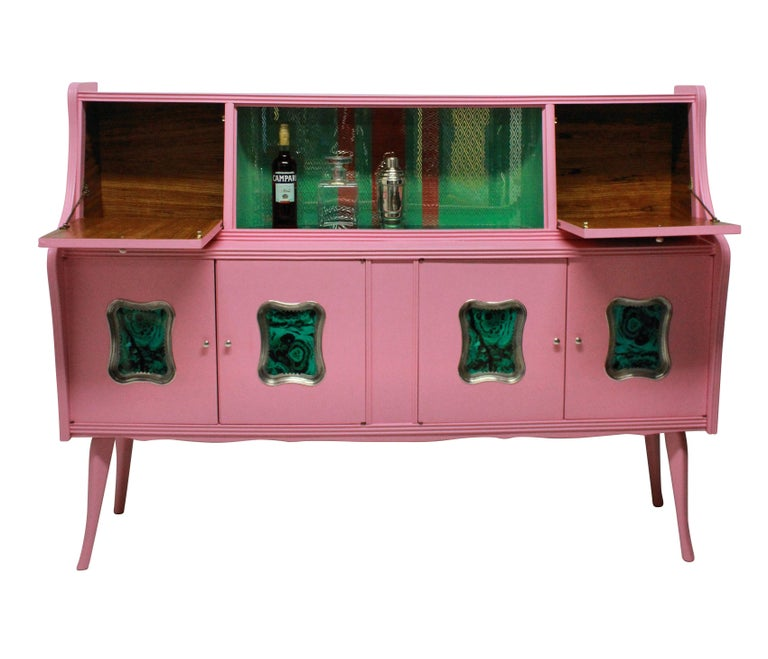 Italian Midcentury Pink Lacquered Bar Cabinet with Malachite Panels