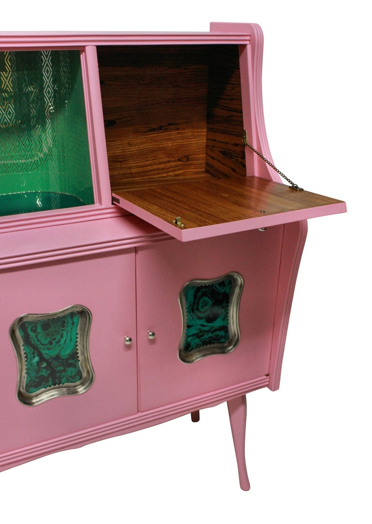 Midcentury Pink Lacquered Bar Cabinet with Malachite Panels In Excellent Condition In London, GB