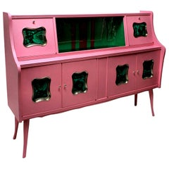 Midcentury Pink Lacquered Bar Cabinet with Malachite Panels