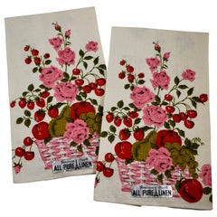 Midcentury Pink Roses & Mixed Fruit Silkscreened Linen Tea Towels, Set of 2