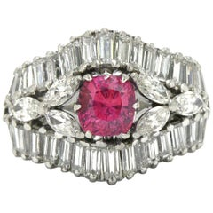 Midcentury Pink Sapphire and Diamond Cocktail Ring Gemstone 1950s Wide Band