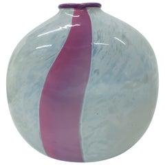 Midcentury Pink Stipe and Milky White Glass Vase