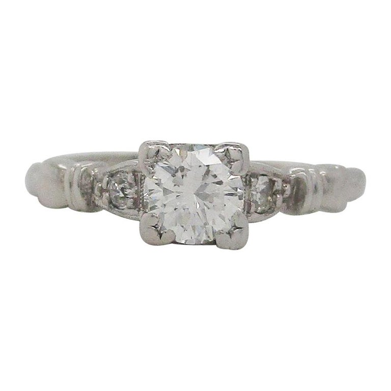 Midcentury Platinum Diamond Engraved Engagement Ring For Sale