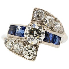 Midcentury Platinum Diamond Sapphire Cocktail Ring